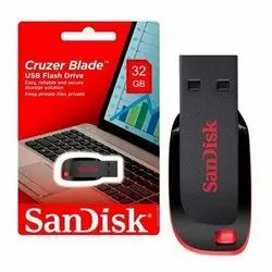 Black Plastic Sandisk Cruzer Blade USB Flash Pen Drive, Model Name/Number: Sdcz50-032g-b35s, Memory Size: 32 GB