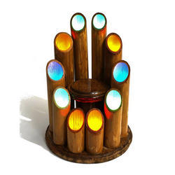 Bamboo Table Lamp With 10-LED And Showpiece Display