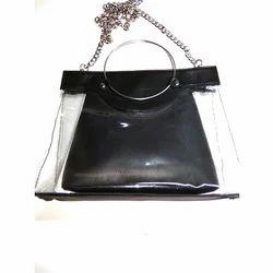 Black Plain Leather Hanging Chain Bag
