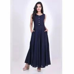Full Length Sleeveless Cotton Maxi Gown Dress, Size: XS-4XL