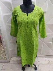 Embroidery & applique designed Regular Ladies Cotton Kurtis