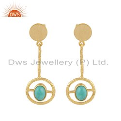 Arizona Turquoise Gemstone Gold Plated 925 Silver Earrings
