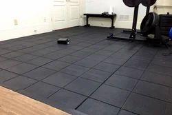 Black Square Rubber Flooring tile