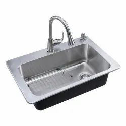 Single Deck Mounted Designer Kitchen Sink, Size: 24x18 Inch