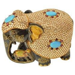 Wooden Painted Stone Work Elephant