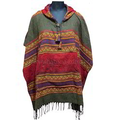 Hippie Winter Coat Hooded Poncho Acrylic Wool Dress