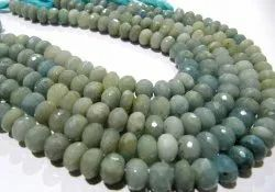 Natural Aquamarine Rondelle Faceted 9mm Strand 10 Inches.
