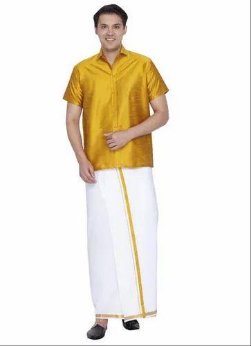 911bc8825431cb Half Sleeves Plain Vastramay Men Yellow Cotton Silk Shirt and Mundu Dhoti  Set