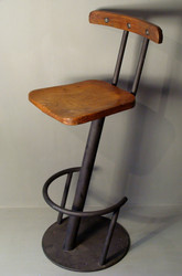 Industrial Steel And Wooden Bar Stool