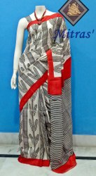 Party Wear Block Printed Silk Saree, 6.5 m ( with Blouse Piece )