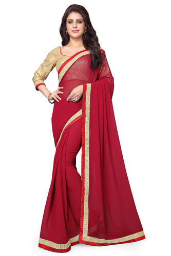 2a41b219a1 Plain Mirchi Fashion Red Faux Georgette Party Wear Saree, Rs 595 ...