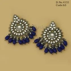 Black Antique Polish Ethnic Kundan Chandbali Earrings