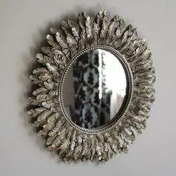 Wood Round Handicraft Decorative Mirror, For Home