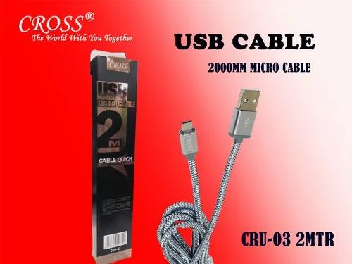 USB Data Cable 2 Mtr For V8 Pin Cross CRU-03 V8, Packaging Type: Box