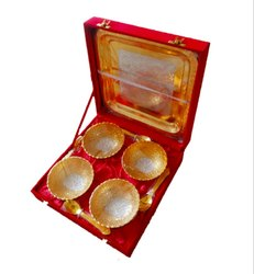 Gold-Silver Plated Bowls Set With Tray