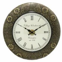 18 Wooden & Brass Carved Wall Clock