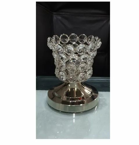Metal Silver Polished Nickel Crystal Candle Holder, For Party Decor, Size: 10x10x5cm