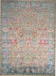 Hand Knotted Modern Sari Silk With Oxidized Wool Oriental Rug