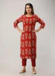 Rayon Red Casual Wear Kurti