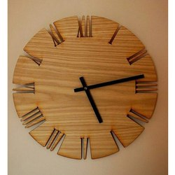 Polished Brown Round Wooden Wall Clock