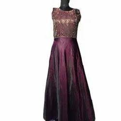Plum Siroski Ladies Party Wear Sleeveless Gown