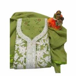 Width:44-45, Green Chanderi Suit Material