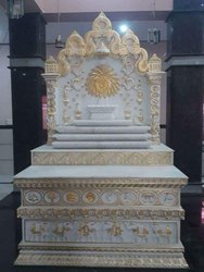 White and Golden Designer Marble Stone Home Temple
