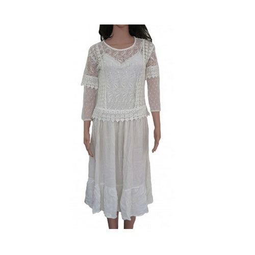 MANGO Off White Ladies Long Dress