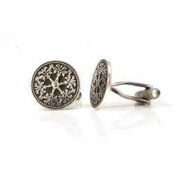 Oxidized Silver Encrusted Design Cufflinks