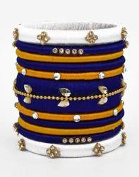 Blue And White Silk Thread Bangle