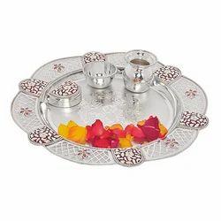 Silver Meena Pooja Thali