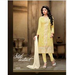 Yellow Casual Wear Chanderi Cotton Salwar Kameez-sparxz20