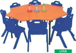 Livia Wooden Table for Play School Pre School Furniture Eight Seater Table