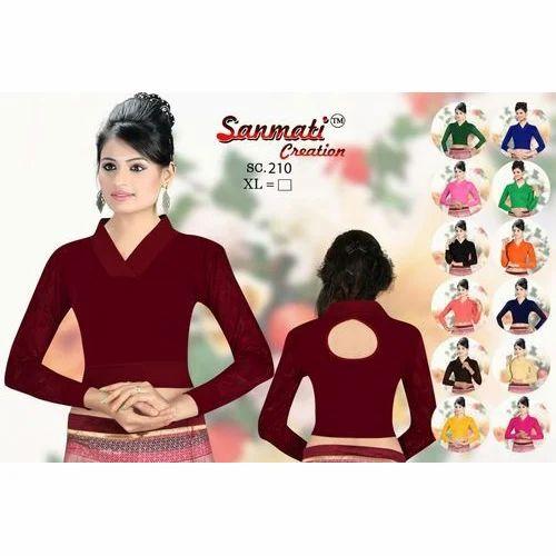 540003a2363296 Pure Cotton Lycra Maroon Plain Stretchable Designer Women s Blouse ...