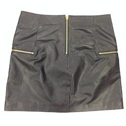 Leather Plain Black Skirt, Size: S, M and L