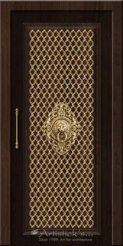 Standard Hinged Main Door Design Brown