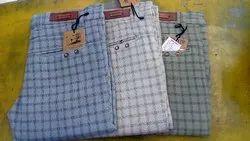 Check Cotton/Linen Men''s Designer Trouser