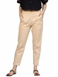 Beige Cotton Flex Ankle Length Casual Pant With Both Side Pocket
