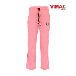 Casual Wear Plain Pink Kid Track Pants