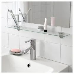 Elegant Transparent Bathroom Glass Shelves