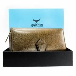 Ladies Coffee Green Leather Wallet
