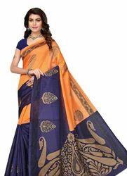 Printed Bhagalpuri Art Silk orange With Navy Blue Color Saree