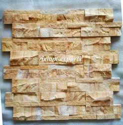 Teak Wood Yellow Sandstone Wall Panel Cladding Tiles