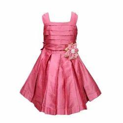 Pink Taffeta Kids Party Wear Dress, Size: 3-4 Y And 10-11 Y