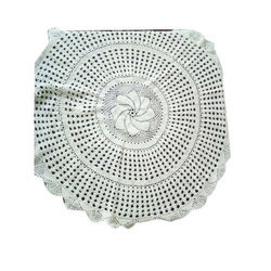 White Round Crochet Table Cloth