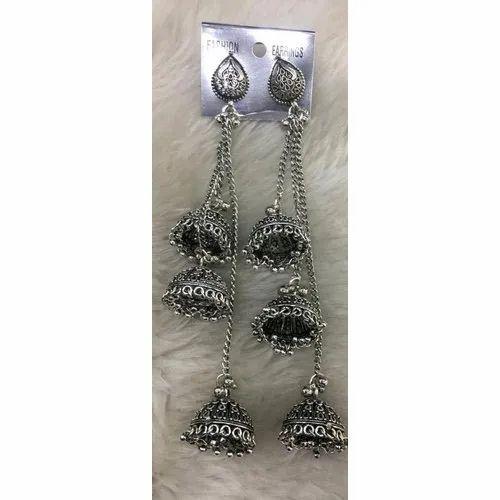 Fancy Ladies Oxidized Silver  Earring, Packaging Type: Box