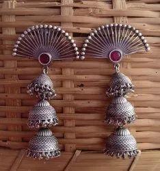 Jhumkas Silver Look Alike Brass Earrings