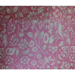 Pink Non Woven Metallic Printed Fabric