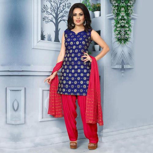 Chiffon Ladies Fancy Patiala Suit, Size: S-XXL