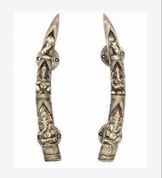 Kratidecor Tusker Style Ganesha Carving Brass Door Handle Pair